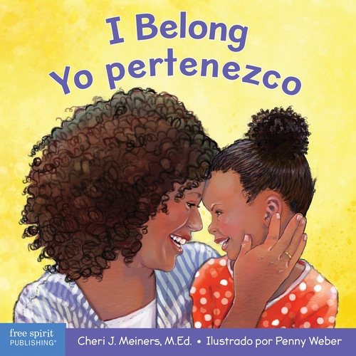 A bilingual English-Spanish board book about being part of a family and a group